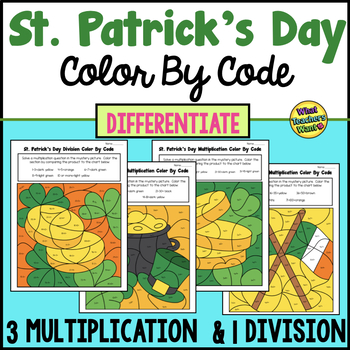 St. Patrick's Day Color By Code Differentiated - 3 Multiplication and 1 Division