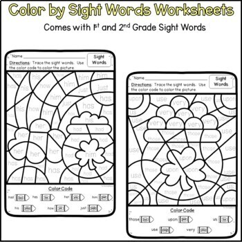 St. Patrick's Day Color By Code First and Second Grade Worksheets