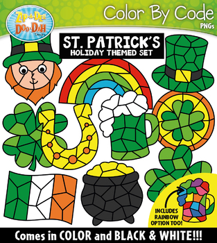 St. Patrick's Day Color By Code Shapes Clipart {Zip-A-Dee-Doo-Dah Designs}