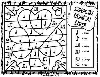 St. Patrick's Day Color By Music Activities:  PDF Worksheet Collection