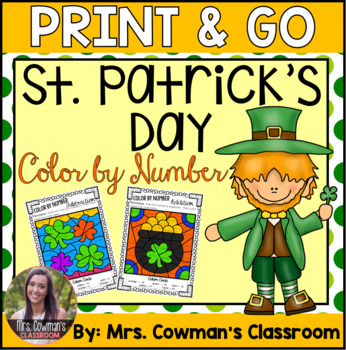 St. Patrick's Day Color By Number: Addition & Subtraction