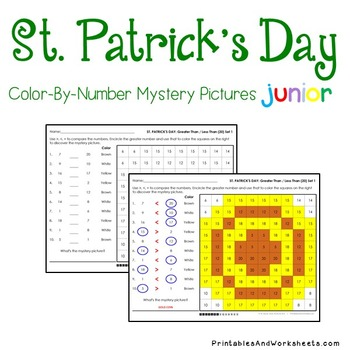 St. Patrick's Day Color-By-Number: Counting/Greater Than/Less Than (K-2)