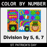 St. Patrick's Day Color By Number - Division by 5, 6, 7