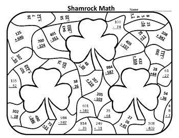 St Patrick S Day Color By Number St Patricks Day Math