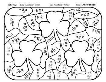 St. Patrick's Day Color By Number St Patricks Day Math Addition Shamrock Math 3