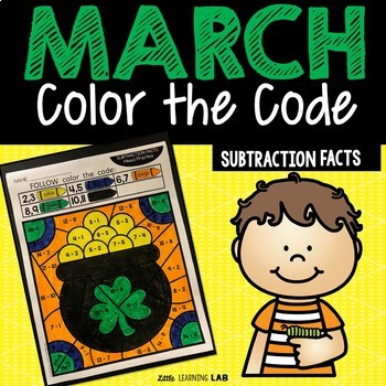 St. Patrick's Day Color By Number | Subtraction Facts | March Activities