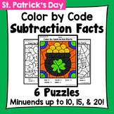 St. Patrick's Day Color By Subtraction Facts: Minuends up to 10, 15, & 20