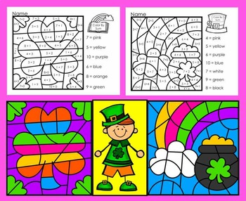 St. Patrick's Day Color By Sum - ☘ Addition Facts to 10 ☘