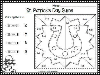 St. Patrick's Day Color By the Code:  NO PREP Literacy and Math Activities