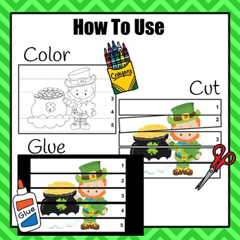 St. Patrick's Day Color, Cut & Glue Puzzles