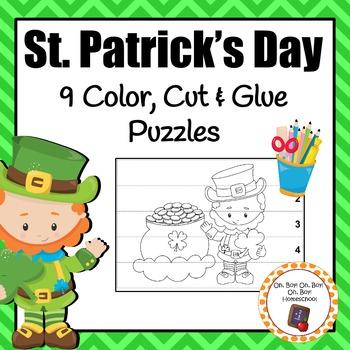 St. Patrick's Day Color, Cut & Glue Puzzles