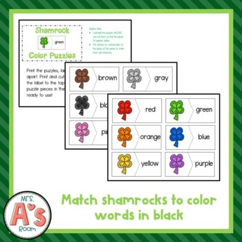 St. Patrick's Day Color Puzzles Busy Box
