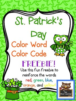 St. Patrick's Day Color Word Color Code FREEBIE!