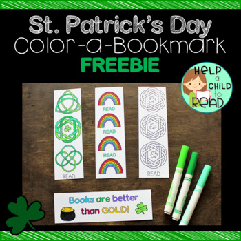 St. Patrick's Day Color-a-Bookmark FREEBIE