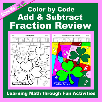 St. Patrick's Day Color by Code: Add & Subtract Fraction Review