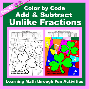 St. Patrick's Day Color by Code: Add & Subtract Fractions 5 in 1