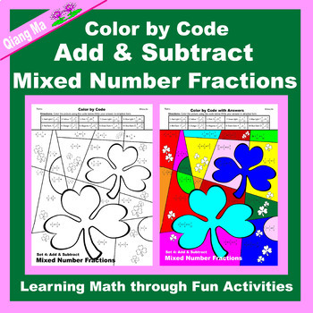 St. Patrick's Day Color by Code: Add & Subtract Mixed Number Fractions