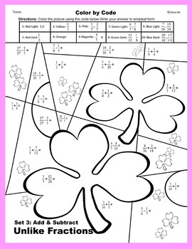 St. Patrick's Day Color by Code: Add & Subtract Unlike Fractions