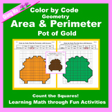 St. Patrick's Day Color by Code: Area and Perimeter: Count Squares: Pot of Gold