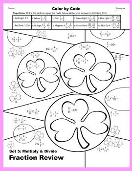 St. Patrick's Day Color by Code: Multiple & Divide Fraction Review