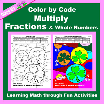 St. Patrick's Day Color by Code: Multiply Fractions & Whole Numbers