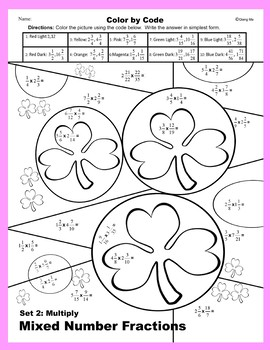 St. Patrick's Day Color by Code: Multiply Mixed Number Fractions