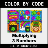 St. Patrick's Day Color by Code - Multiplying 3 Numbers