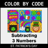 St. Patrick's Day Color by Code - Subtracting 3 Numbers