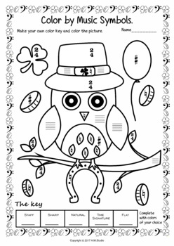 St. Patrick`s Day: Color by Note and Symbol Activities