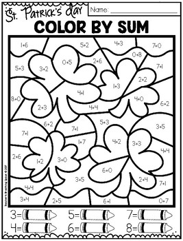 st patricks day color by number 1 10 11 19 and color by sum up to - St Patricks Day Pictures To Color 2