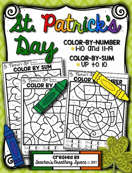 St. Patrick's Day Color-by-Number 1-10 & 11-19 and Color-b