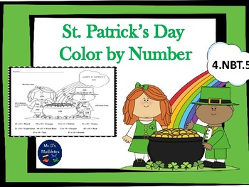 """St. Patrick's Day """"Color by Number"""" 4.NBT.5"""