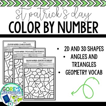 St. Patrick's Day / March Math Color by Number - Differentiated Geometry