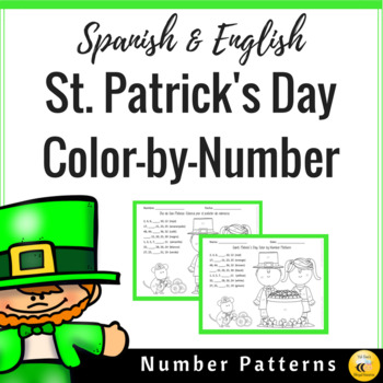 St. Patrick's Day Color by Number Pattern (Spanish & English)