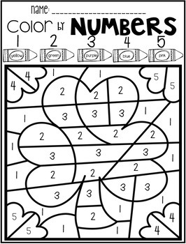 St. Patrick's Day Color by Numbers 1-10 Activities