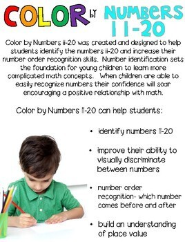 St. Patrick's Day Color by Code Numbers 11-20 Activities