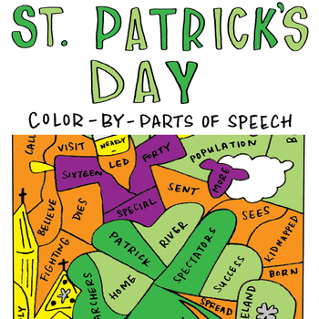 St. Patrick's Day Color-by-Parts of Speech Activity