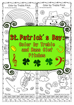 St. Patrick`s Day Color by Treble and Bass Clef Pitches