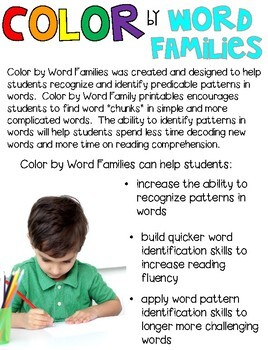 St. Patrick's Day Color by Code Word Families Printables