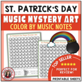 St Patrick's Day Color by Music Note: 12 Coloring Pages: Music Mystery Art