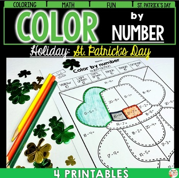 St. Patrick's Day - Color by number - ADDITION - SUBTRACTION and WORD