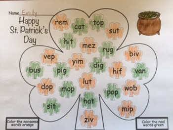 St. Patrick's Day Coloring Nonsense Words