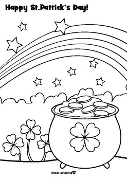 St. Patrick\'s Day Coloring Page by Maple Leaf Learning   TpT