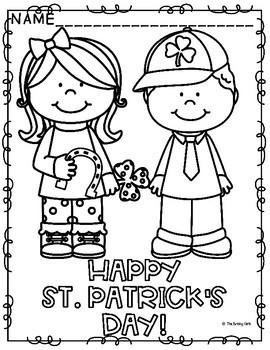 st patrick's day coloring pagesthe brisky girls  tpt
