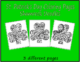 St. Patrick's Day Coloring Pages ShamrocK Doodles Set2