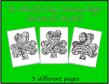 St. Patrick's Day Coloring Pages ShamrocK Doodles Set2