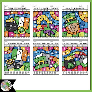 St. Patrick's Day Coloring Pages   St. Patrick's Day Color by Code Phonics