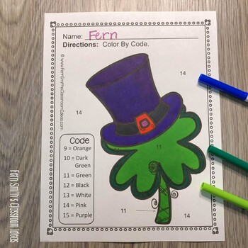 Color By Code St. Patrick's Day Colors and Numbers Bundle