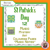 St Patrick's Day Colour by Music Note: 12 Colouring Pages: Music Mystery Art