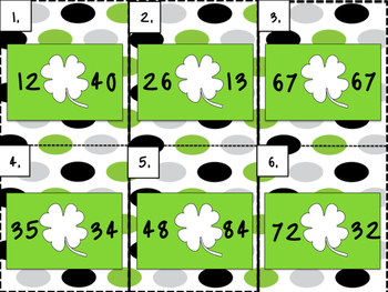 St. Patrick's Day Comparing Numbers Write the Room GAME!